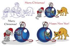 Gatos y la Navidad Imágenes de archivo libres de regalías