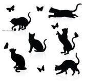 Gatos y mariposas. stock de ilustración