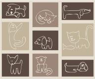 Gatos y perros. Foto de archivo libre de regalías