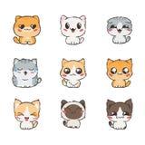 Gatos y perros lindos de la historieta con diversas emociones Colección de la etiqueta engomada libre illustration