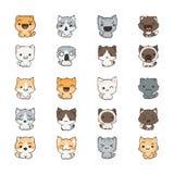 Gatos y perros lindos de la historieta con diversas emociones Colección de la etiqueta engomada stock de ilustración