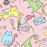 Gatos y pescados lindos coloridos - modelo inconsútil con la pintura digital en fondo rosado fotos de archivo libres de regalías