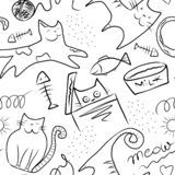 Gatos y pescados lindos - modelo inconsútil con la pintura digital aislada en el fondo blanco fotos de archivo libres de regalías