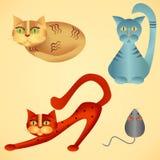 Gatos y ratón foto de archivo libre de regalías