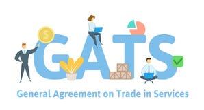 GATS, Consensus op Handel in de Diensten Concept met sleutelwoorden, brieven en pictogrammen Vlakke vectorillustratie stock illustratie
