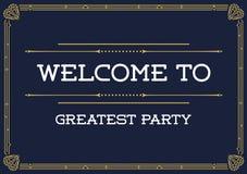 Gatsby-Art-Einladung in Art Deco oder in Nouveau-Epoche Lizenzfreies Stockbild