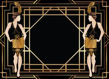 Gatsby géométrique Art Deco Background avec la femme illustration stock