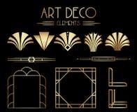 Gatsby géométrique Art Deco Ornaments, diviseurs et éléments de cadre illustration de vecteur