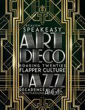 Gatsby Style Art Deco Jazz Era. Old fashioned art deco jazz era like Gatsby style poster with speakeasy roaring twenties flapper culture decadence idealism Stock Photography