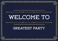 Gatsby Style Invitation in Art Deco or Nouveau Epoch Royalty Free Stock Image
