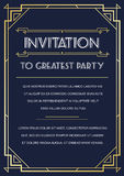 Gatsby Style Invitation. In Art Deco or Nouveau Epoch 1920's Gangster Era Vector Stock Images