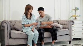 Gatten nicht glücklich, wenn sie das Ergebnis der Schwangerschaft kennen Stockbild