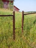 Gattereingang zum Bauernhof mit hohem Gras Stockfotografie
