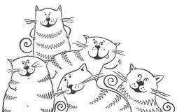 Gatti in bianco e nero illustrazione vettoriale