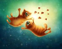 gatti che volano nell'amore royalty illustrazione gratis