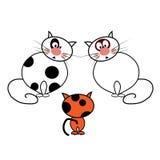 Gatti del fumetto su fondo bianco Fotografia Stock Libera da Diritti