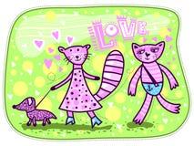Gatti e cane rosa Fotografie Stock