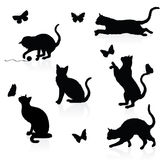 Gatti e farfalle. illustrazione di stock