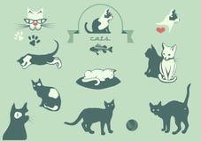 Gatti, elementi veterinari di logo, illustrazione di stock