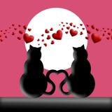Gatti felici di giorno dei biglietti di S. Valentino nella siluetta di amore illustrazione vettoriale