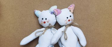 Gatti gemellati del giocattolo immagine stock
