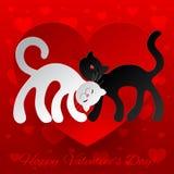 Gatti innamorati del wuth due della carta del biglietto di S. Valentino illustrazione vettoriale