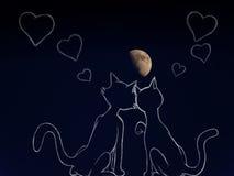 Gatti nell'amore sotto la luna Fotografia Stock Libera da Diritti