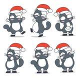 Gatti nella progettazione di carattere del costume del Babbo Natale illustrazione di stock