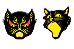Gatti neri arrabbiati Fotografie Stock