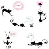 Gatti neri divertenti royalty illustrazione gratis