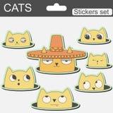 Gatti svegli degli autoadesivi del fumetto in cappello Fotografia Stock Libera da Diritti