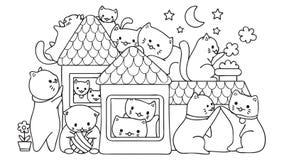 Gatti svegli disegnati a mano che giocano nella casa alla notte, per l'elemento di progettazione e la pagina del libro da colorar Fotografie Stock Libere da Diritti