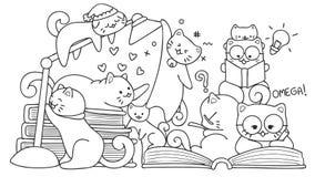 Gatti svegli disegnati a mano che leggono per l'elemento di progettazione e la pagina del libro da colorare per i bambini Illustr Fotografia Stock