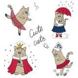 Gatti svegli impostati Illustrazioni di vettore del gattino del fumetto illustrazione vettoriale