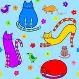 Gatti, topi ed uccelli Fotografia Stock Libera da Diritti