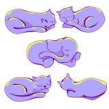 Gattini ed elefante di sonno fra loro royalty illustrazione gratis