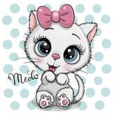 Gattino bianco del fumetto con un arco rosa su un fondo dei punti illustrazione di stock