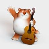 Gattino con una chitarra. Fotografia Stock
