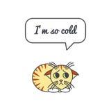 Gattino congelato con il fumetto e dire Fotografia Stock Libera da Diritti