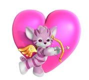 Gattino del Cupid con cuore 2 Immagine Stock Libera da Diritti