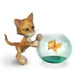 Gattino del fumetto con il Goldfish - include il percorso di residuo della potatura meccanica Royalty Illustrazione gratis