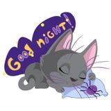Gattino di sonno con il suo ragno dell'amico sul cuscino royalty illustrazione gratis