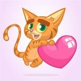 Gattino divertente del fumetto che tiene un amore del cuore Illustrazione di vettore per il giorno di biglietti di S. Valentino d immagini stock