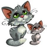 Gattino grigio del fumetto triste, animale di vettore illustrazione di stock