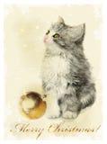 gattino lanuginoso e palla dorata Styl d'annata royalty illustrazione gratis