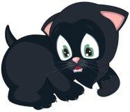 Gattino nero spaventato Immagini Stock Libere da Diritti
