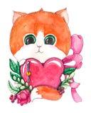 Gattino sveglio dell'acquerello disegnato a mano con cuore illustrazione di stock