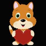 Gattino sveglio dell'icona che tiene una struttura rossa del cuore su fondo nero Fotografia Stock