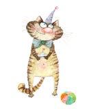Gattino sveglio festivo dell'illustrazione della matita Fotografia Stock