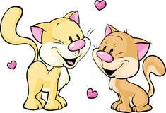 Gattino sveglio nell'amore isolato su bianco Immagini Stock
